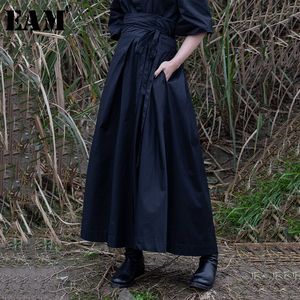 [EAM] 2020 New Spring Summer High Waist Banadahe Black Pleated Split Joint Big Hemline Half-body Skirt Women Fashion Tide JR478