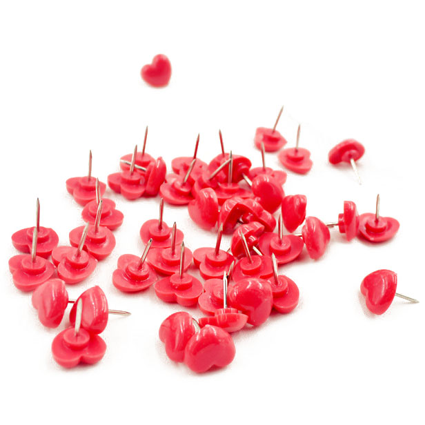 50pcs Plastic Office Binding Push Pins Set Board Map Thumbtack Red Pink Heart Shape With Box School Office Stationery Supply