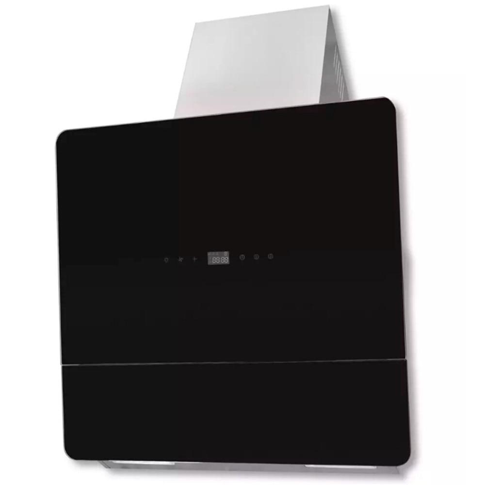 VidaXL Durable Toughened Glass Wall With Sloping Hood 600 Mm Black Silver Screen Digital Display 3 Speed Levels Cooker Hood