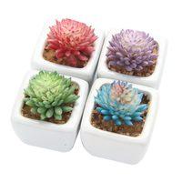 4 шт./компл. искусственные влагозапасающие растения + белый, квадратный, керамический горшки суккулентные растения в горшках Landscapeplante садово...