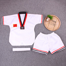 White Short Sleeve Uniform Adult Taekwondo Karate Dobok Exquisite Embroidery Tkd Clothing Kids Kungfu Martial Arts Suit Size180 super deal japan kendo aikido iaido hakama gi martial arts uniform sportswear dobok sets coat and culottes free collocation
