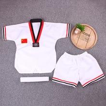 White Short Sleeve Uniform Adult Taekwondo Karate Dobok Exquisite Embroidery Tkd Clothing Kids Kungfu Martial Arts Suit Size180