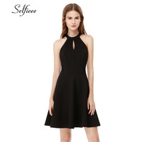 New Fashion Sexy Casual Little Black Summer Dress Classic Women A line Empire Lace Backless Halter Sleeveless Mini Party Dress
