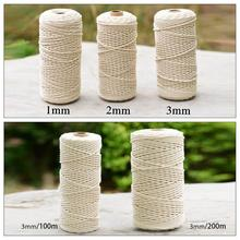 цена на 200m Durable White Cotton Cord Natural Beige Twisted Cord Rope Craft Macrame String DIY Handmade Home Decorative Supply 3mm