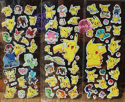 Anime Lucu Pokemon Stiker Pikachu Pocket Monster Scrapbooking Stiker Dinding Lembar Panduan