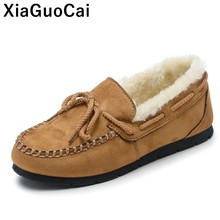 Winter Women Shoes Warm Plush Female Boat Loafers Moccasins Womans Casual Shoe Flat Gommino Hot Sale Cotton Footwear