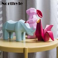 Paper folding theme animal figurine bird resin figurine rabbit art craft Rhinoceros figurine for home decoration christmas gift