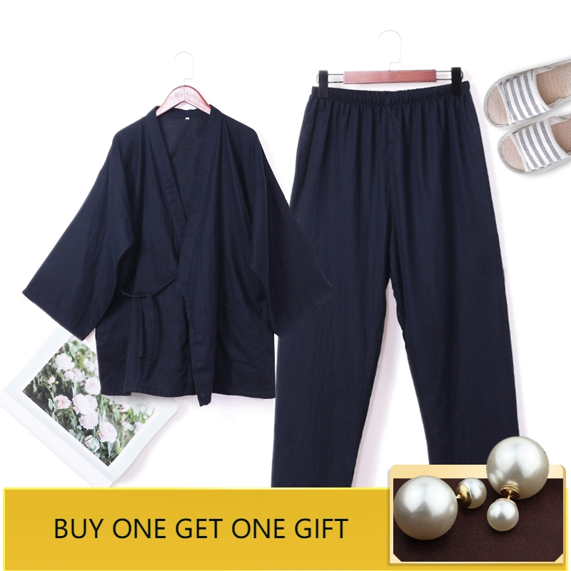 Men's Sleep & Lounge Men's Pajama Sets Sunny Summer Men Pajamas Pyjamas Suit Solid Male Kimono Cotton Sleepwear Home Wear Japanese Style Nightwear 2 Pcs Robe&pant Size M L
