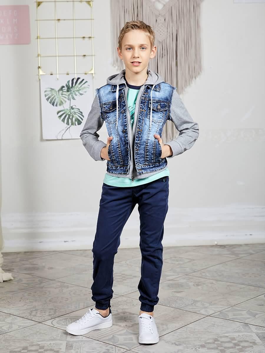 Jacket denim Luminoso for boys flap button pocket stripe collar denim jacket