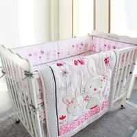 4 ชิ้นเด็กกันชนผ้าฝ้าย/Plush ทารกผ้าปูที่นอนสำหรับทารกแรกเกิด Toddle เด็กรอบๆผ้าลินิน Cot กันชน