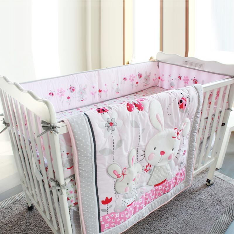 4 шт. детская кровать бампер хлопок/плюш детские постельные принадлежности для новорожденных малышей Детская кровать вокруг льняной кроватки бортики для кроватки
