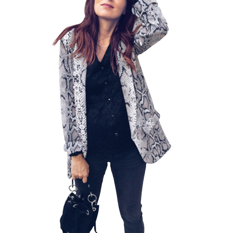 2019 England Style Women Printed Snake Blazer JacketS Work Office Lady Suit Blazers Feminio Long Sleeve Coat Womens Outerwear