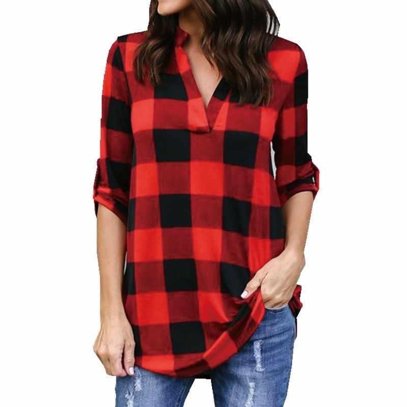 Клетчатая рубашка с длинным рукавом женская плюс размер футболка с v-образным вырезом Женская футболка, топ 4XL 5XL над размером d футболка белая черная уличная