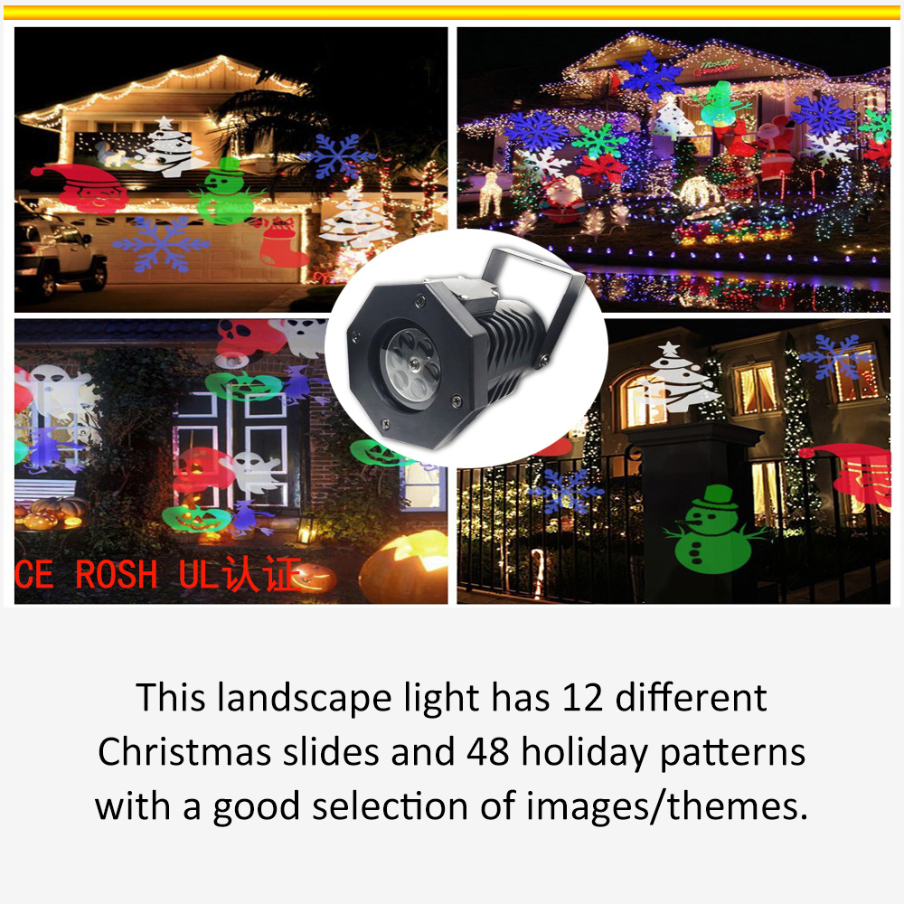 Trend Mark 12 Christmas Patterns Cards 48 Holiday Pattern Snowflakess Projector Lights Lighting Waterproof Holiday Christmas Decoration Smoothing Circulation And Stopping Pains Access Control Access Control Kits