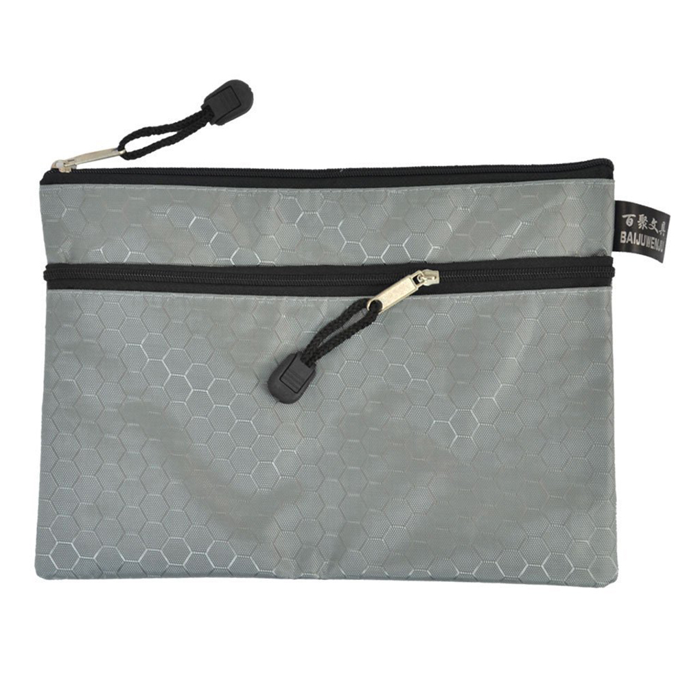 Sourcing Map Rectangular Paper A5 2 Compartment With Zipper And Nylon Document Wallet Pouch-Gray