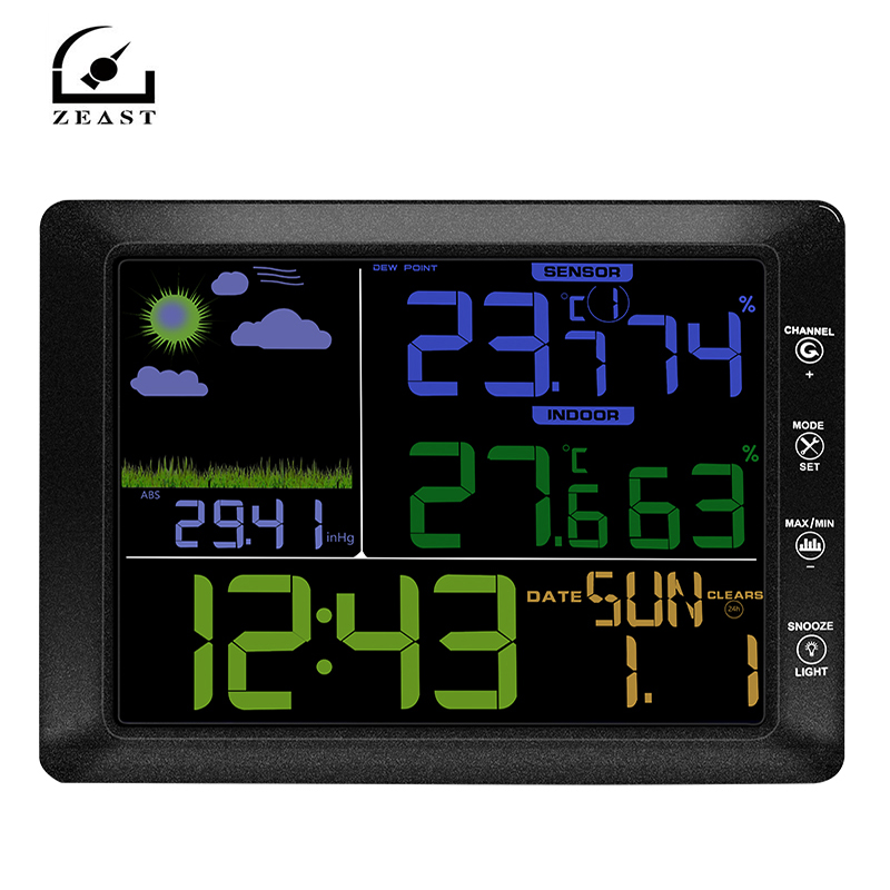 Wireless Weather Station Indoor Outdoor Weather Forecast Station Hygrometer Thermometer Alarm Clock with Outdoor Sensor TS