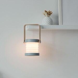 Image 3 - hot sale USB Wooden Handle Portable Lantern Lamp Telescopic Folding Led Table Lamp Charging Night Light Reading Lamp