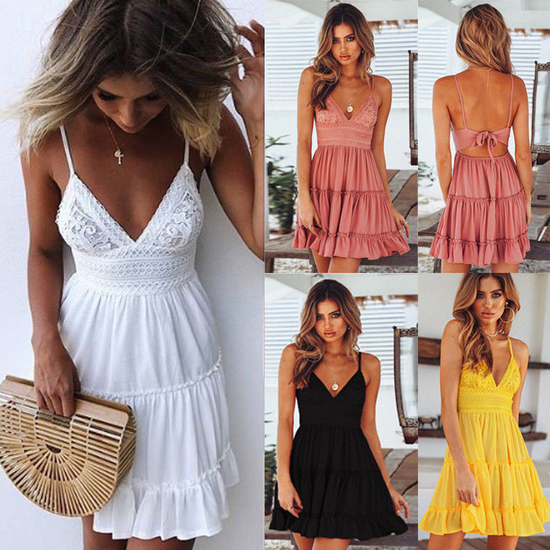 <font><b>Sexy</b></font> V Neck <font><b>Mini</b></font> <font><b>Dress</b></font> Women Bodycon Lace Spaghetti Strap Female Summer <font><b>Backless</b></font> Bow Casual Beach Party <font><b>Dresses</b></font> image