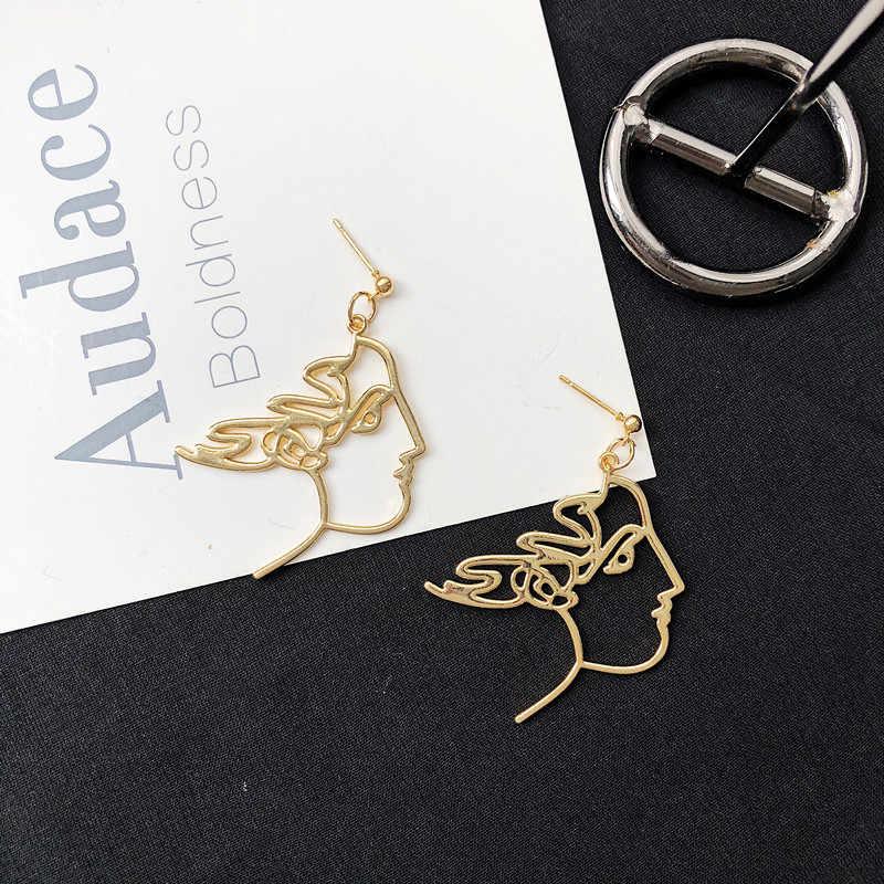 2019 новые абстрактные серьги для женщин ювелирные изделия серебряный, с гравировкой Висячие серьги для женщин девочек богемные серьги