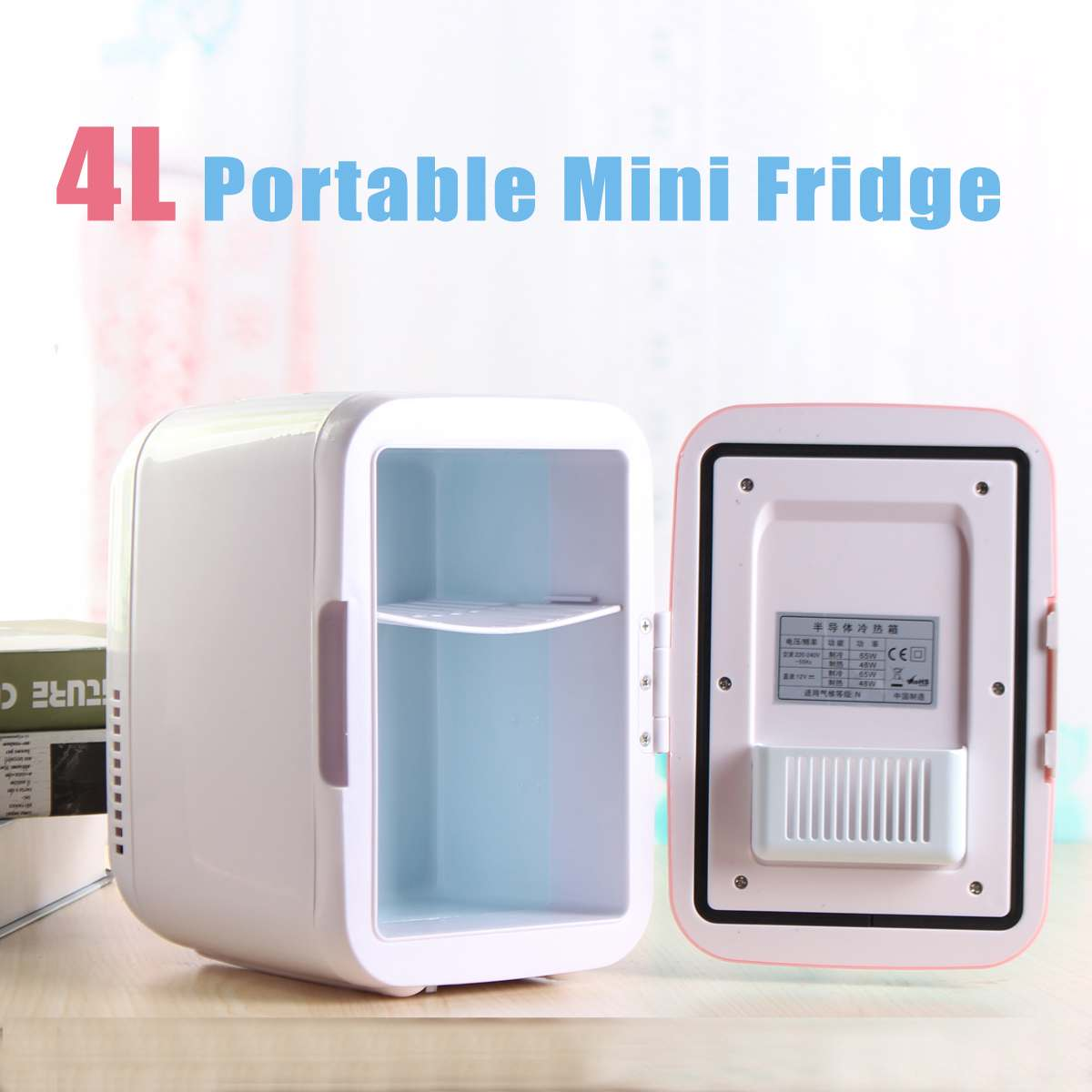 4L Portable Mini Fridge Cooler And Warmer Auto Car Boat Vehicle Refrigerator Home Office AC & DC Pink BS 48W
