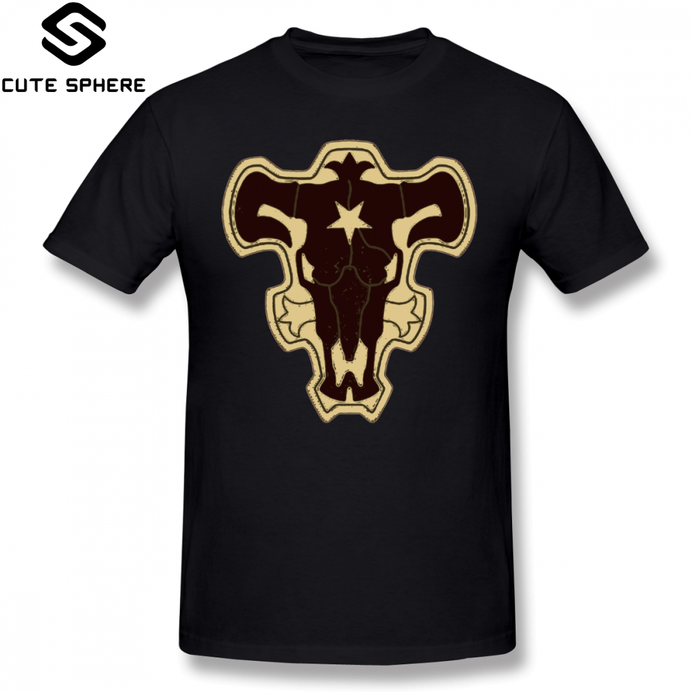 Black Clover T Shirt Black Bull Squad Black Clover T-Shirt Classic Plus size Tee Shirt Short Sleeves Cotton Printed Funny Tshirt