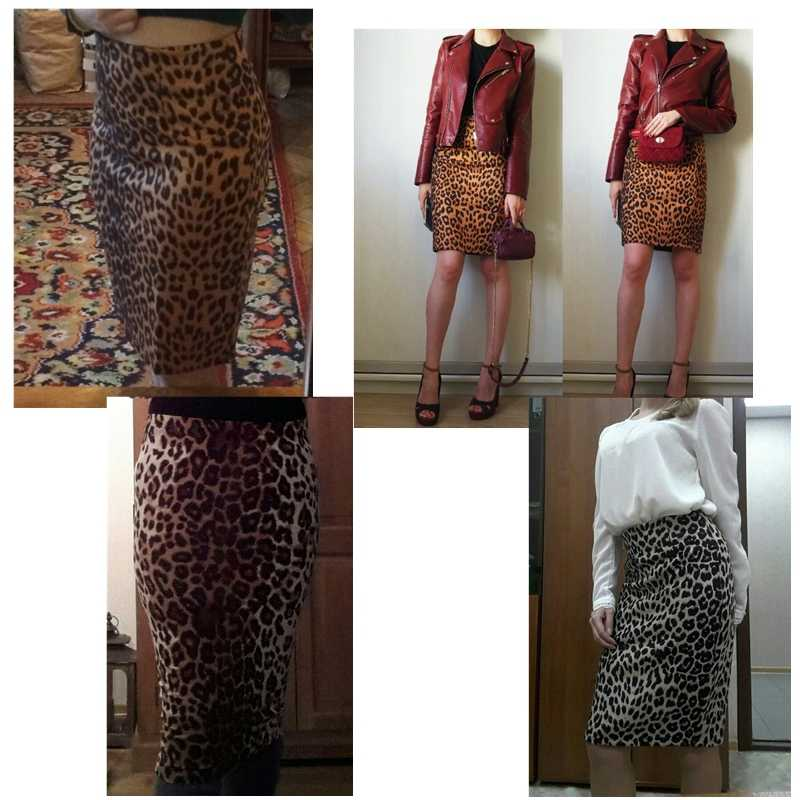 658980563624b ... Leopard Print Skirt Women High Waist Printing Faux Suede Pencil Skirt  Ladies Sexy Club Skirts Knee ...
