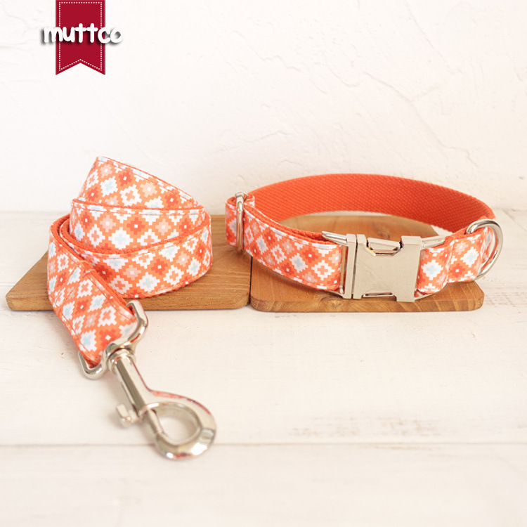 New Muttco Retailing Handmade High Quality Leash Collar Fashionable Sapphire Small Medium Large Dog Collars And Leashes Set in Sets from Home Garden