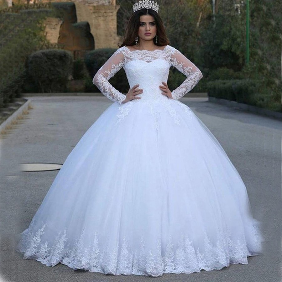 Arab Muslim Ball Gown Wedding Dress 2019 Princess Style Long Sleeve Lace Appliques Bride Dress Custom Made Wedding Gowns W0134