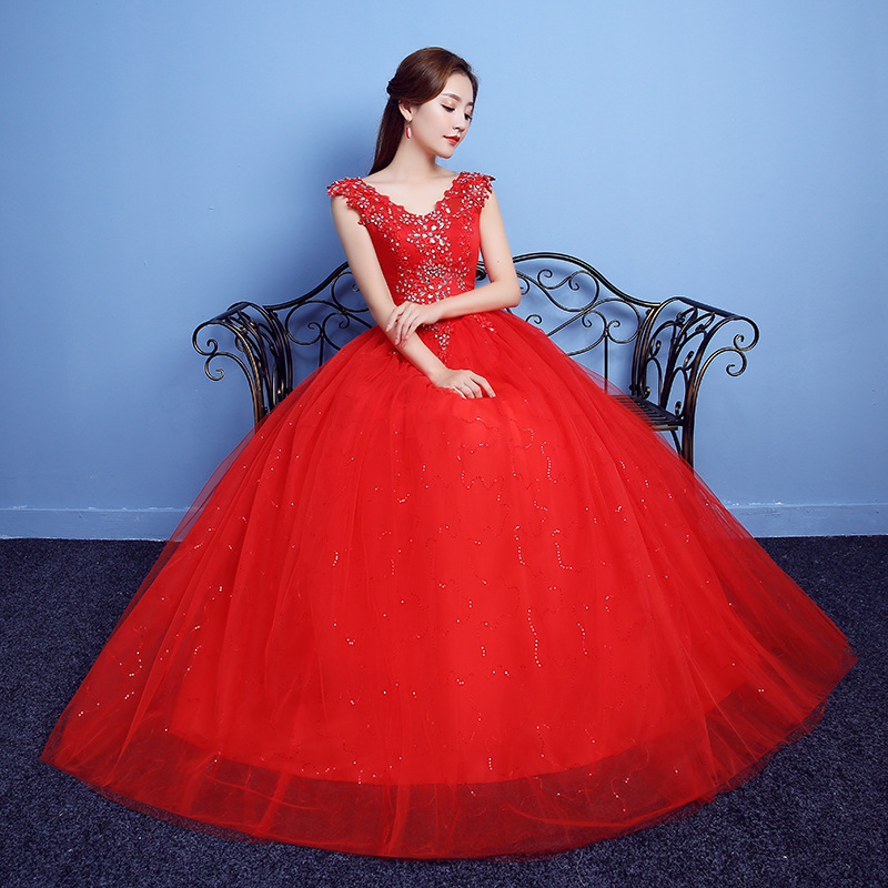 Vestido De Noiva 2019 V-neck Red Beading Backless Quinceanera Dresses Tulle Crystal Ball Gown Elegant Quinceanera Gowns(China)