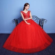 d2c8fb4feaf Vestido De novia De cuello en V 2019 rojo cordón Vestido De Quinceanera  vestidos De tul bola De cristal elegante Quinceañera ves.