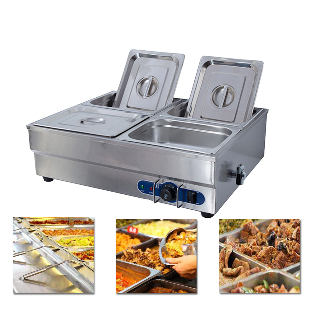 Kitchen Appliance Electric buffet soup warmer with 4 pans commercial counter top 4 pan bain marie soup warmer