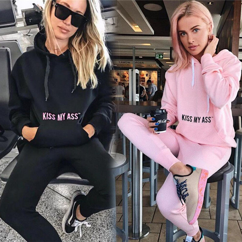 2pcs Hooded Casual Tracksuit Suits For Women Set Hoodies Sweatshirt+Sweatpants 2 Pieces Sets Women's Suit Sweatsuit Female