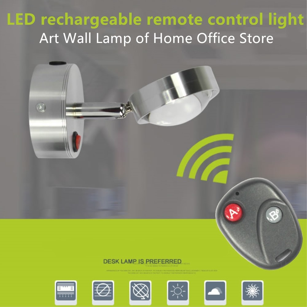 New 3W Remote control led wall light Rechargeable Rotatable Surface mounted Black Silvery Easy to install