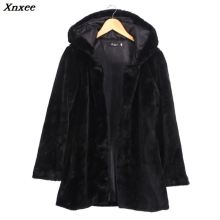 2018 Winter Warm Hooded Faux Fur Coat For Women Casual Loose Long Style Black Xnxee