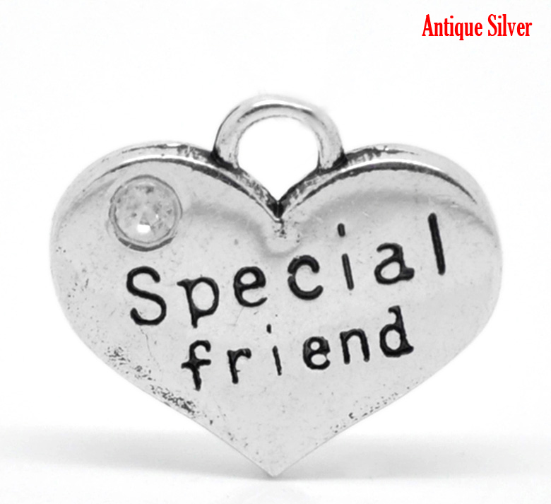 Lovely 20PCs Silver Color Rhinestone Special friend Heart Charm Pendants 16mmx14mm (B19617) image