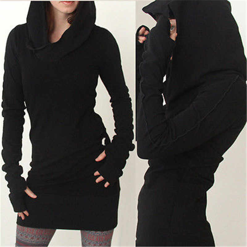 Womens Ladies Hooded Sweatshirt Long Sleeve Sweater Hoodies Jumper long pattern pure color shirt