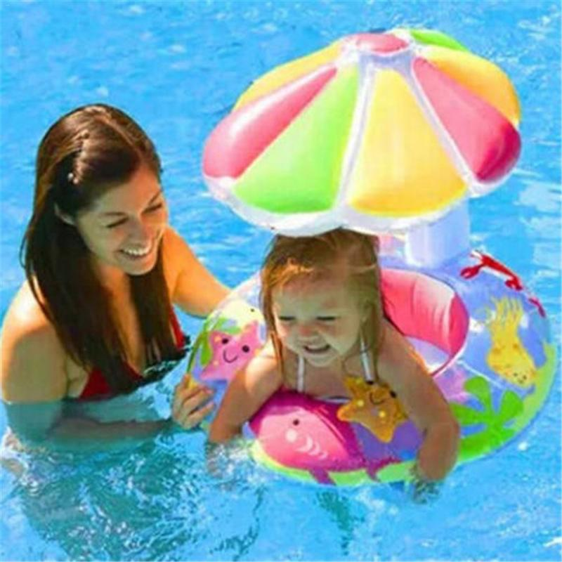 Parent Kid Swimming Circle Ring Baby Float Sunshade Cover Floating Toy Child Beach Pool Accessories Plage Piscine Good Balance