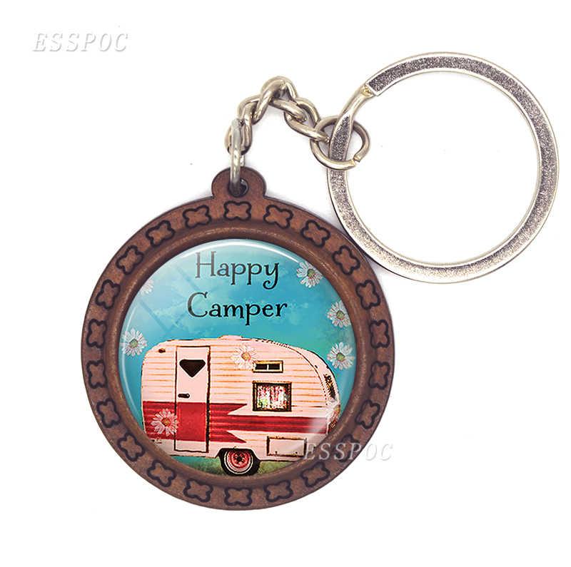Милый дорожный автомобиль деревянный брелок бижутерия со стеклянными кабошонами Glamping кулон богини I Camp брелок для ключей женский путешественник подарок