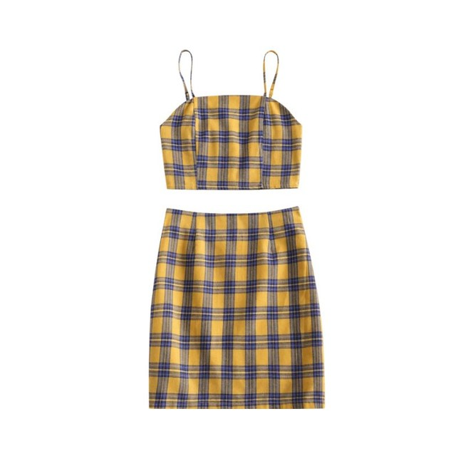 2019 Women Cotton Sleeveless Plaid Two Piece Sets Sexy Crop Top And Mini Skirt Summer Sets Sweet Fashion Spaghetti Suit