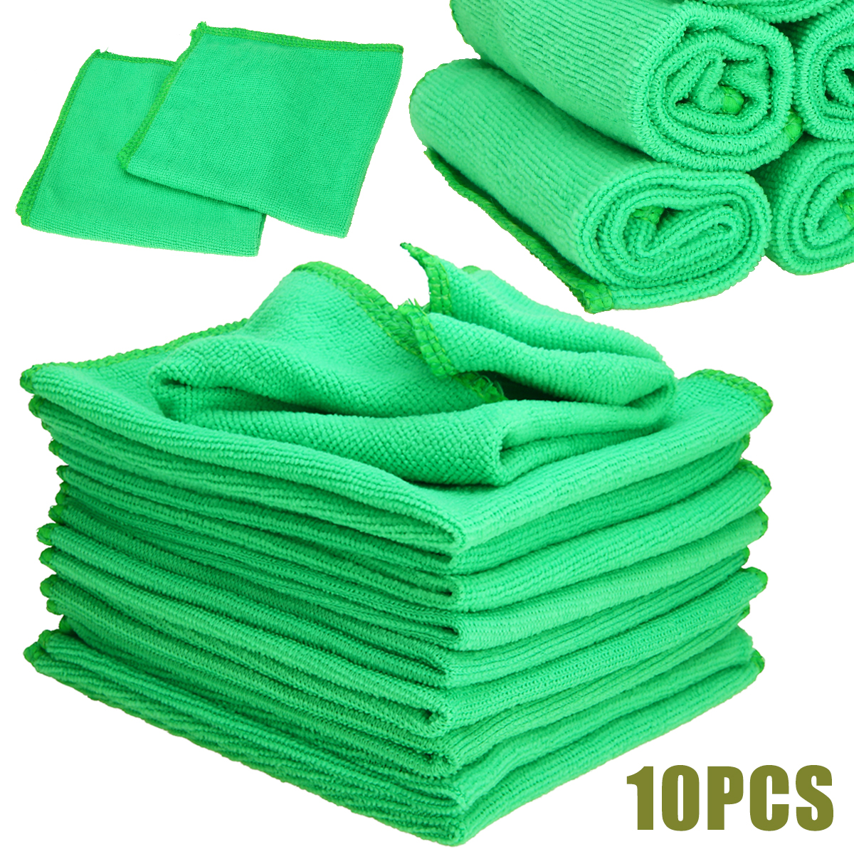 Image 2 - Mayitr 1Set 10X Green Microfiber Cleaning Auto Car Detailing Soft Microfiber Cloths Wash Towel Duster Home Clean 25*25CM-in Sponges, Cloths & Brushes from Automobiles & Motorcycles