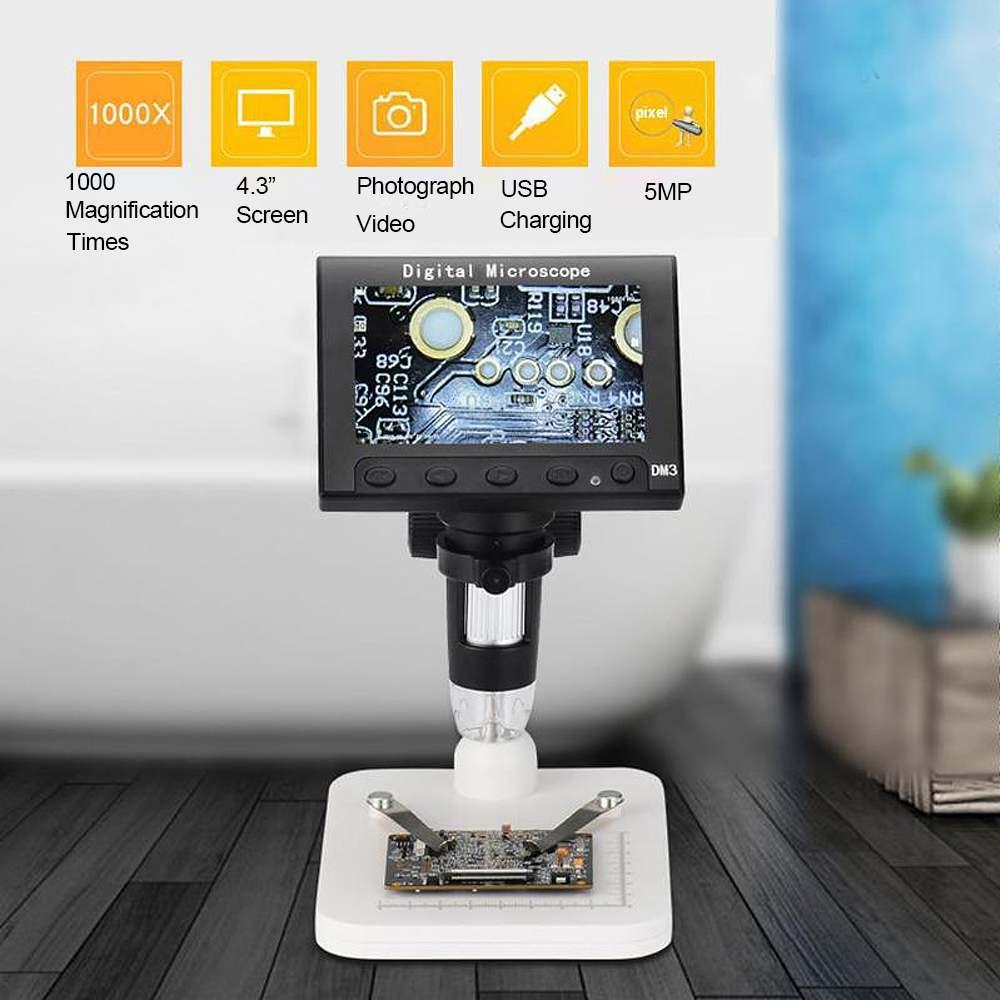 DM3 1000X USB De Poche Microscope Électronique 4.3 pouce 1080 p HD 8 LED LCD Numérique Microscope Loupe Pour Photo Vidéo de stockage