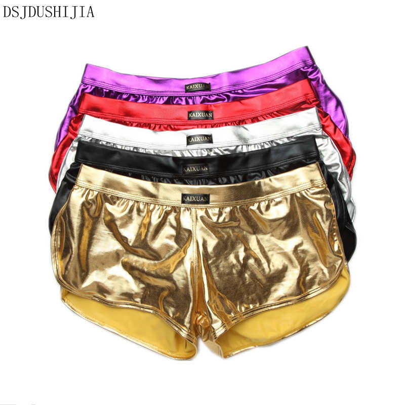 Sexy Boxers Shiny Boxershorts Mens Wetlook Underwear Faux Leather Bulge Pouch Boxer Shorts Trunks Homme Cueca Clubwear 5pcs/lot