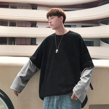 2019 Korean t shirt Men Casual Loose Solid Color Spliced Fake Two Pieces Pullover Tee Round Neck Long Sleeve summer top T-shirt