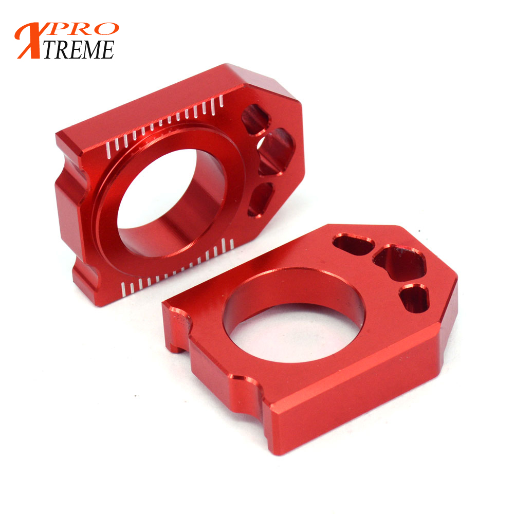 CNC Red Axle Block Chain Adjuster For Honda CR125R CR250R CRF250R CRF250X CRF450R CRF450X Dirt Pit Bike Motorcycle