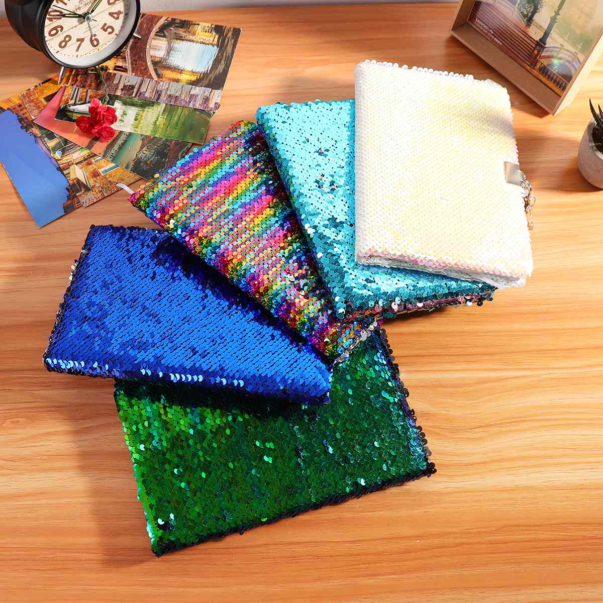 Kid Girls Magic Reversible Sequin Notebook Diary Lined A5 Journal W/ Lock & Key