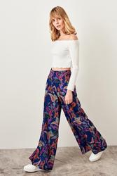 Trendyol Navy Blue Print Flare Pants TWOSS19EH0137