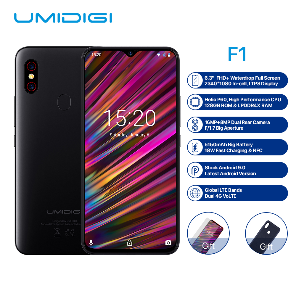 UMIDIGI F1 4G Phablet Phone 6.3 inch Android 9.0 Octa Core 2.0GHz 4GB RAM 128GB ROM 16.0MP Front Camera 5150mAh Smart Cellphone