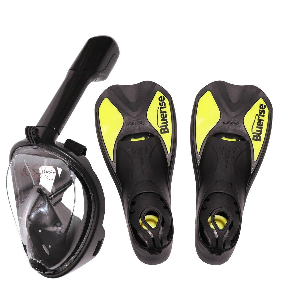 Bluerise aletas de natación y máscara Set Anti-fog Snorkel máscara completa antideslizante aletas equipo de buceo aletas de buceo máscara - 2