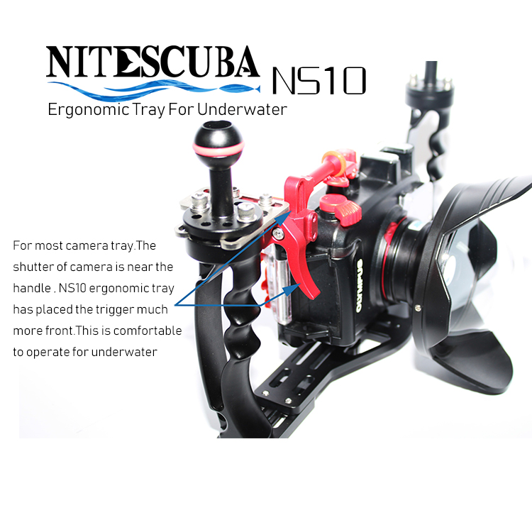NiteScuba Diving Handle Tray BracketGrip Carrier For Go Pro Tg5 Rx100 Nauticam Camera Housing Holder Case Underwater Photography