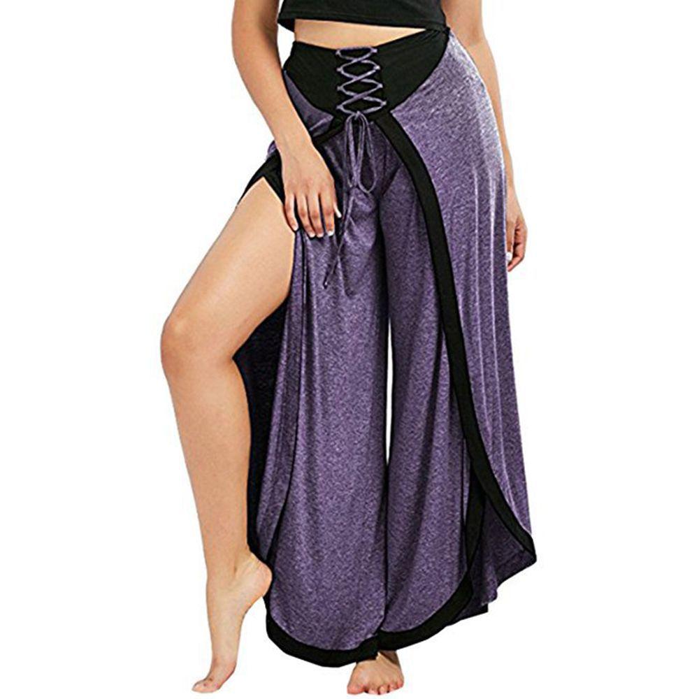 Casual Split Lady Bandage Wide Leg   Pants   Women Spring High Waist Trousers Streetwear Sash Casual   Pants     Capris   Female